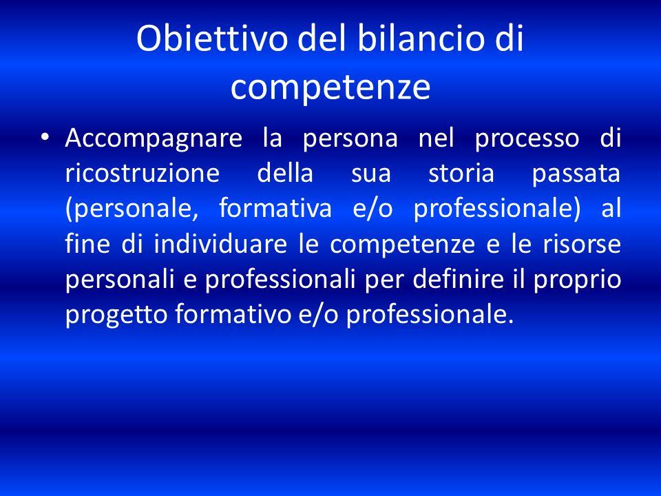 Obiettivo del bilancio di competenze Accompagnare la persona nel processo di ricostruzione della sua storia passata (personale, formativa e/o professi