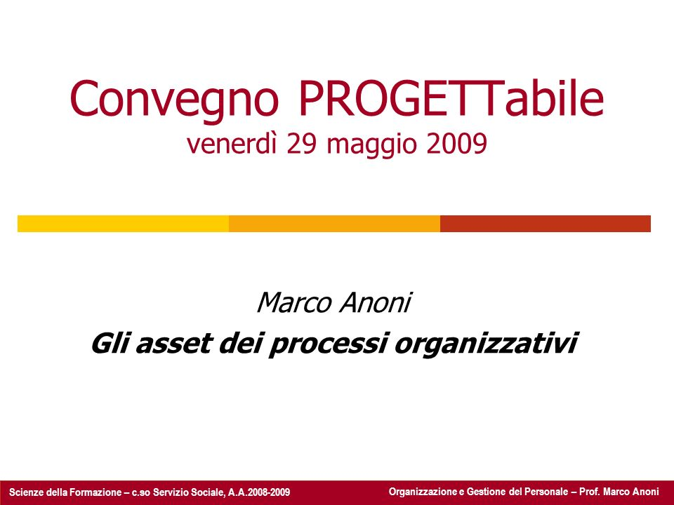 Organizzazione e Gestione del Personale - Prof.