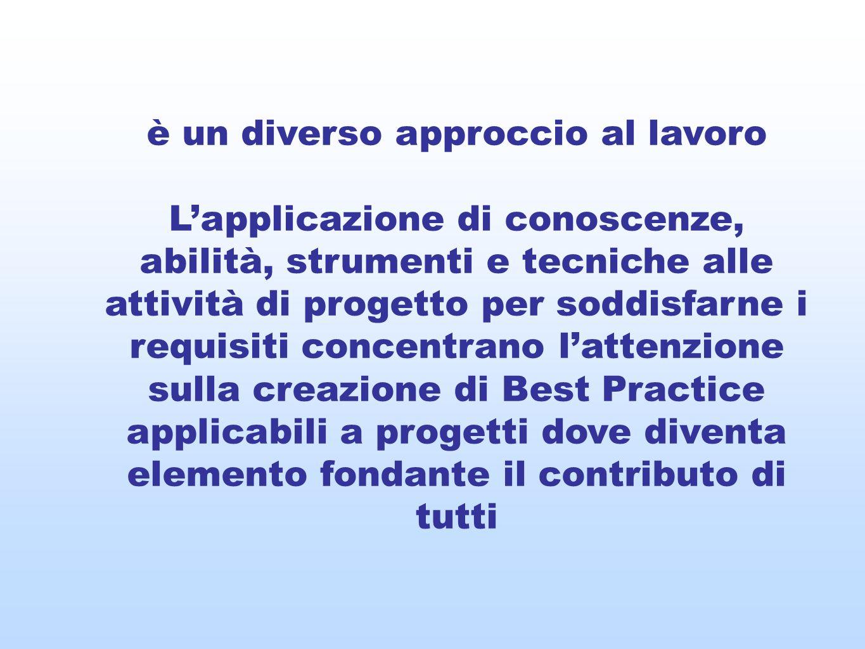 è un diverso approccio al lavoro Lapplicazione di conoscenze, abilità, strumenti e tecniche alle attività di progetto per soddisfarne i requisiti conc