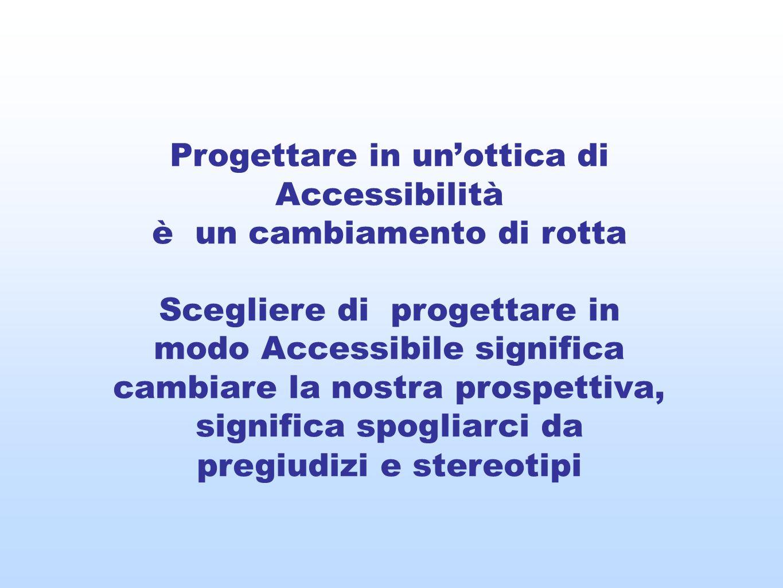 Progettare in unottica di Accessibilità è un cambiamento di rotta Scegliere di progettare in modo Accessibile significa cambiare la nostra prospettiva, significa spogliarci da pregiudizi e stereotipi