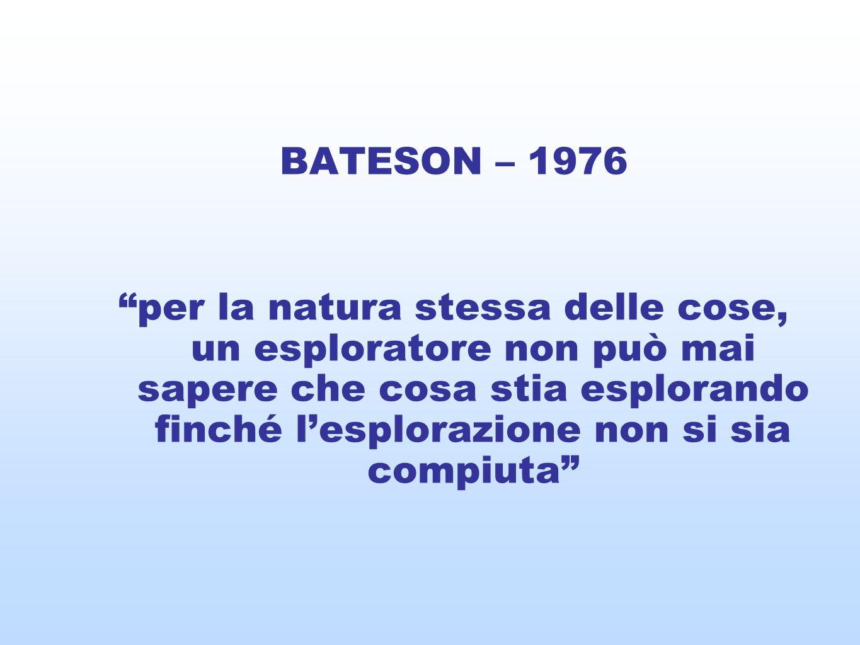 BATESON – 1976 per la natura stessa delle cose, un esploratore non può mai sapere che cosa stia esplorando finché lesplorazione non si sia compiuta