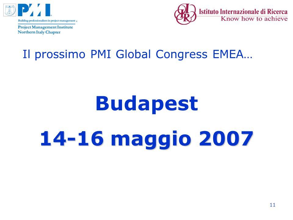 11 Il prossimo PMI Global Congress EMEA… Budapest 14-16 maggio 2007 14-16 maggio 2007