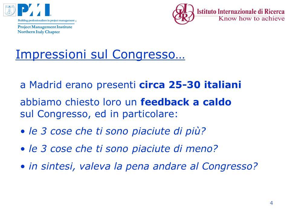 4 Impressioni sul Congresso… a Madrid erano presenti circa 25-30 italiani abbiamo chiesto loro un feedback a caldo sul Congresso, ed in particolare: le 3 cose che ti sono piaciute di più.