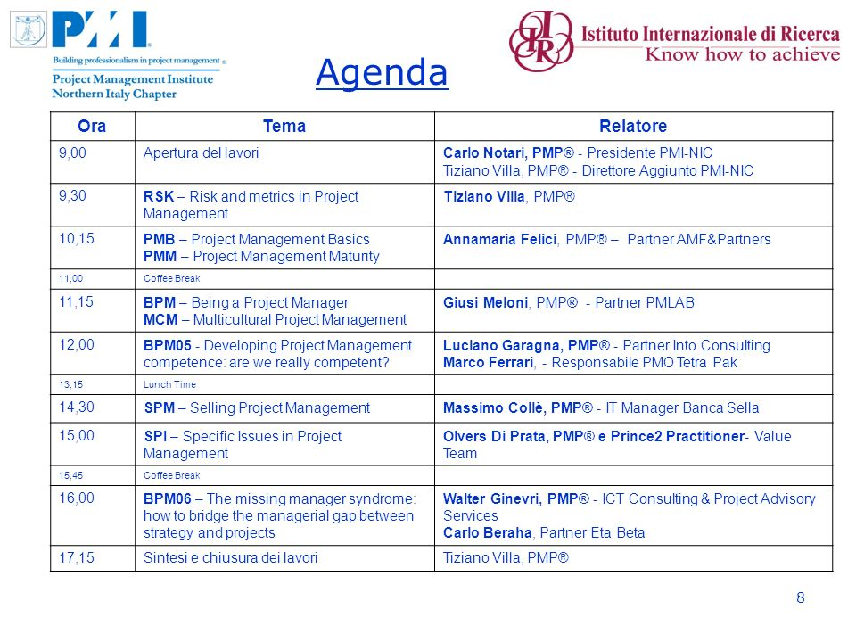 8 Agenda OraTemaRelatore 9,00Apertura del lavoriCarlo Notari, PMP® - Presidente PMI-NIC Tiziano Villa, PMP® - Direttore Aggiunto PMI-NIC 9,30RSK – Risk and metrics in Project Management Tiziano Villa, PMP® 10,15PMB – Project Management Basics PMM – Project Management Maturity Annamaria Felici, PMP® – Partner AMF&Partners 11,00Coffee Break 11,15BPM – Being a Project Manager MCM – Multicultural Project Management Giusi Meloni, PMP® - Partner PMLAB 12,00BPM05 - Developing Project Management competence: are we really competent.
