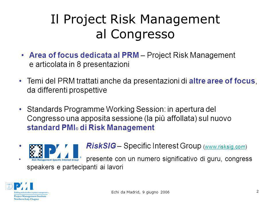Echi da Madrid, 9 giugno 2006 2 Il Project Risk Management al Congresso Temi del PRM trattati anche da presentazioni di altre aree of focus, da differ