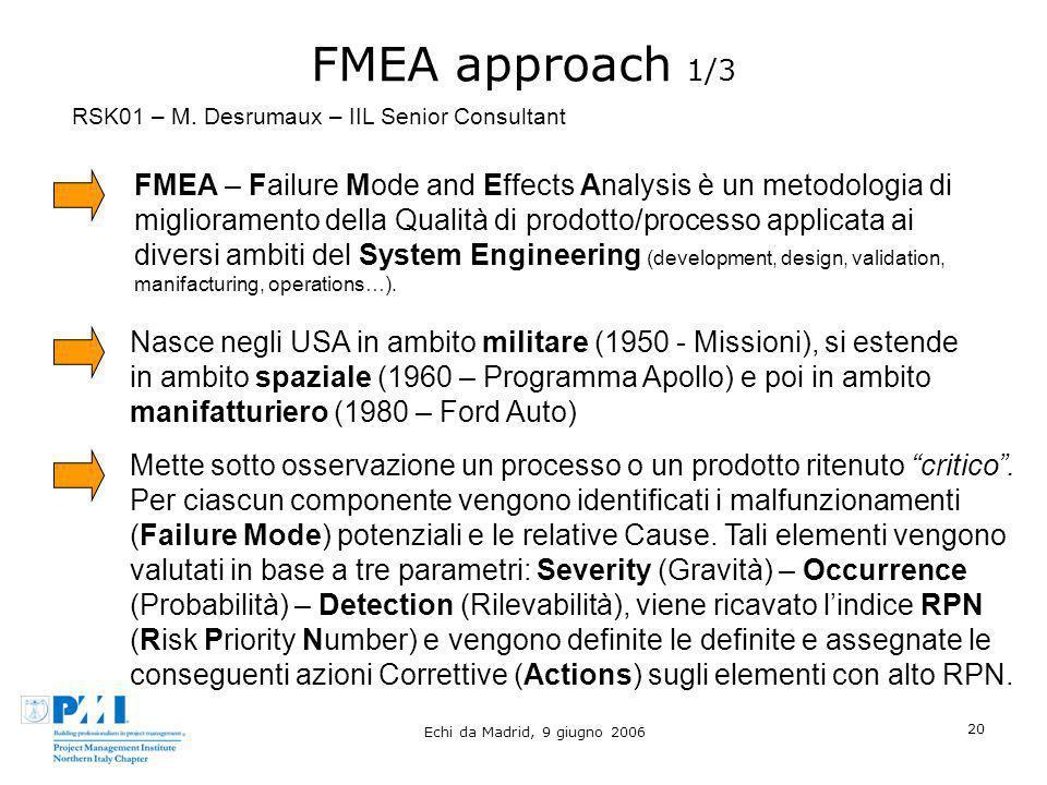Echi da Madrid, 9 giugno 2006 20 FMEA approach 1/3 FMEA – Failure Mode and Effects Analysis è un metodologia di miglioramento della Qualità di prodott