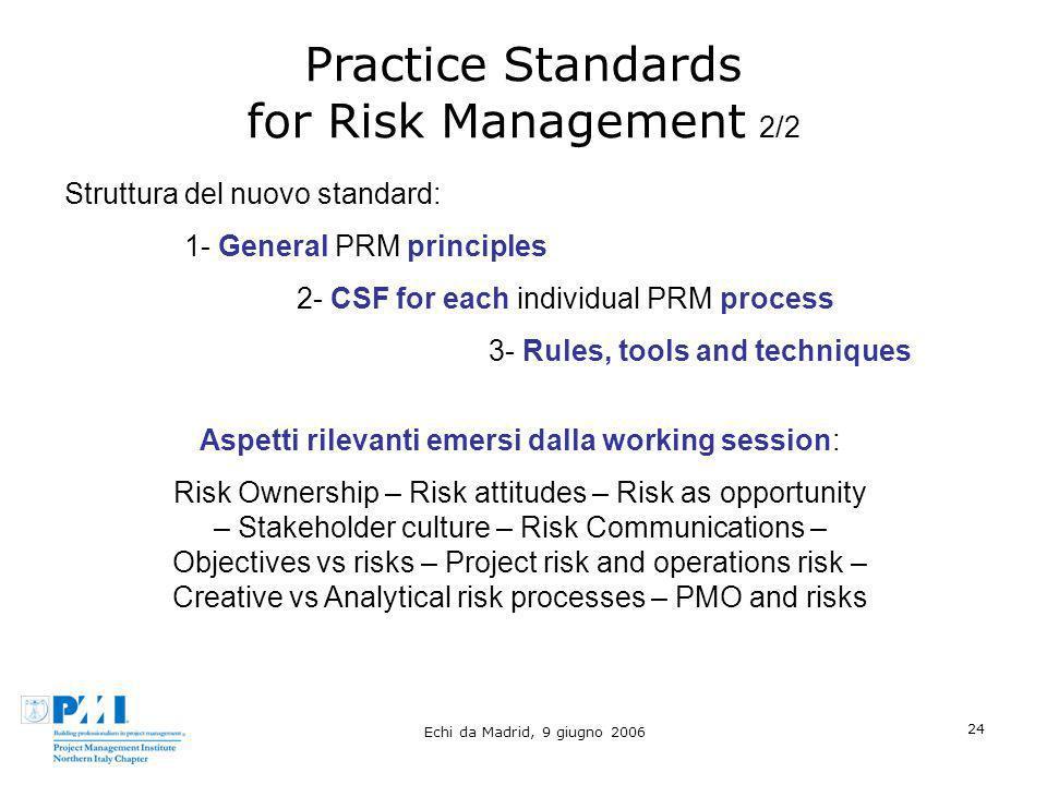 Echi da Madrid, 9 giugno 2006 24 Practice Standards for Risk Management 2/2 Struttura del nuovo standard: 1- General PRM principles 2- CSF for each in