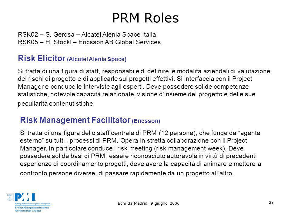 Echi da Madrid, 9 giugno 2006 25 PRM Roles Risk Elicitor (Alcatel Alenia Space) Si tratta di una figura di staff, responsabile di definire le modalità