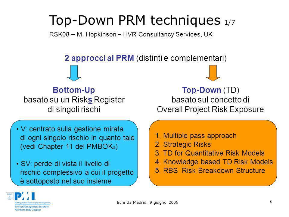 Echi da Madrid, 9 giugno 2006 5 Top-Down PRM techniques 1/7 2 approcci al PRM (distinti e complementari) RSK08 – M. Hopkinson – HVR Consultancy Servic