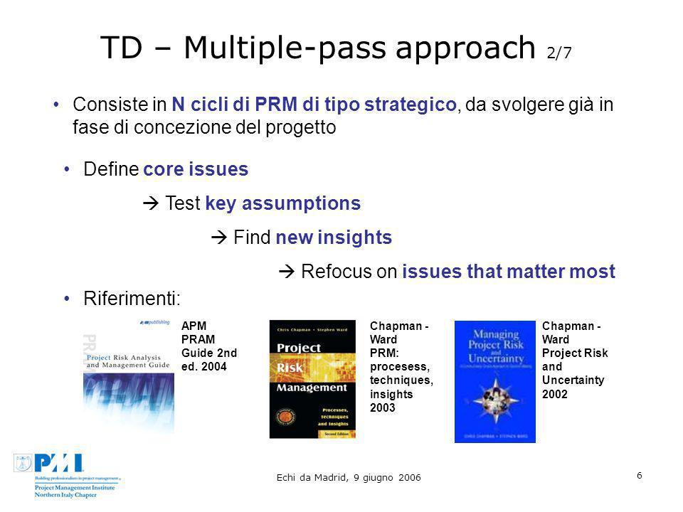 Echi da Madrid, 9 giugno 2006 6 TD – Multiple-pass approach 2/7 Consiste in N cicli di PRM di tipo strategico, da svolgere già in fase di concezione d
