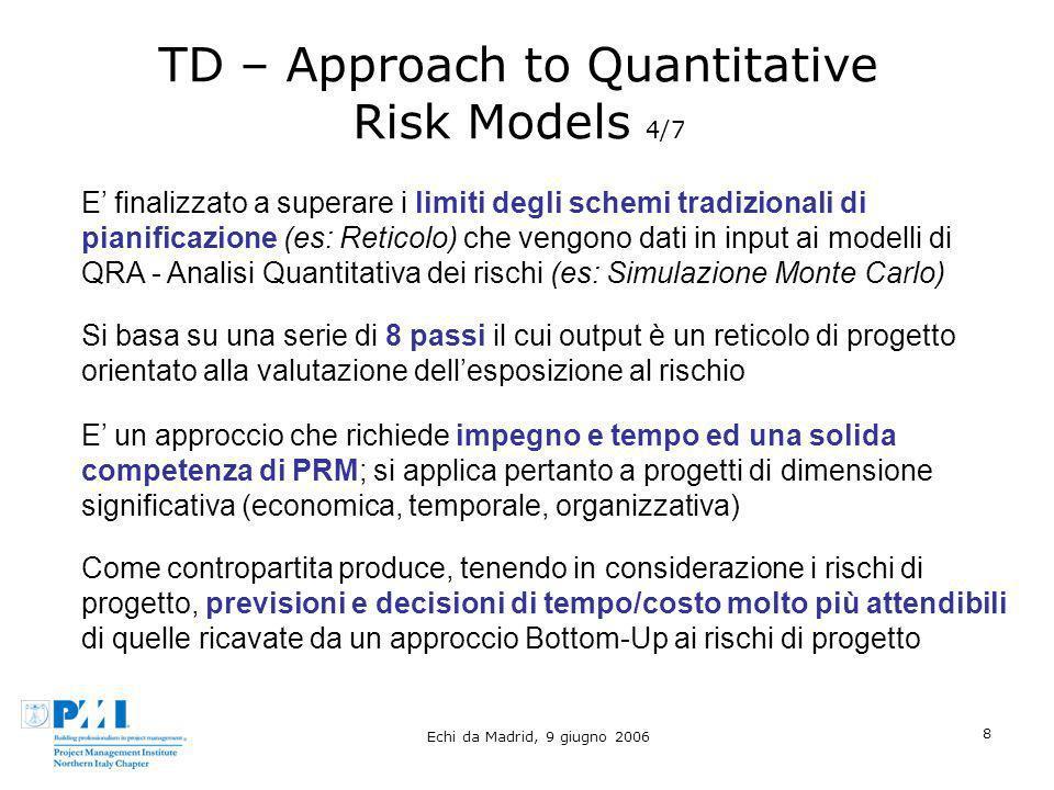 Echi da Madrid, 9 giugno 2006 8 TD – Approach to Quantitative Risk Models 4/7 E finalizzato a superare i limiti degli schemi tradizionali di pianifica