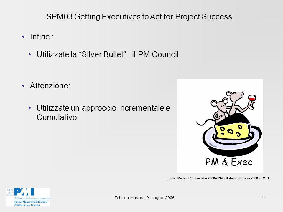 Echi da Madrid, 9 giugno 2006 10 SPM03 Getting Executives to Act for Project Success Infine : Fonte: Michael OBrochta– 2006 – PMI Global Congress 2006