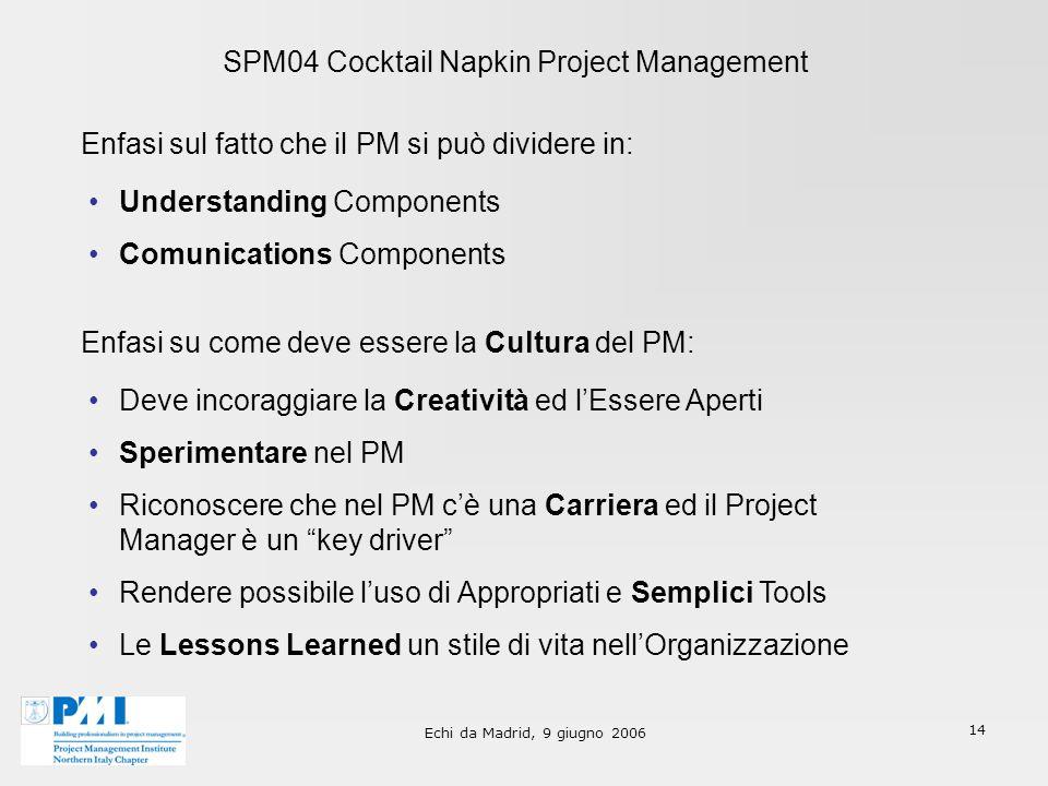 Echi da Madrid, 9 giugno 2006 14 SPM04 Cocktail Napkin Project Management Enfasi sul fatto che il PM si può dividere in: Understanding Components Comu
