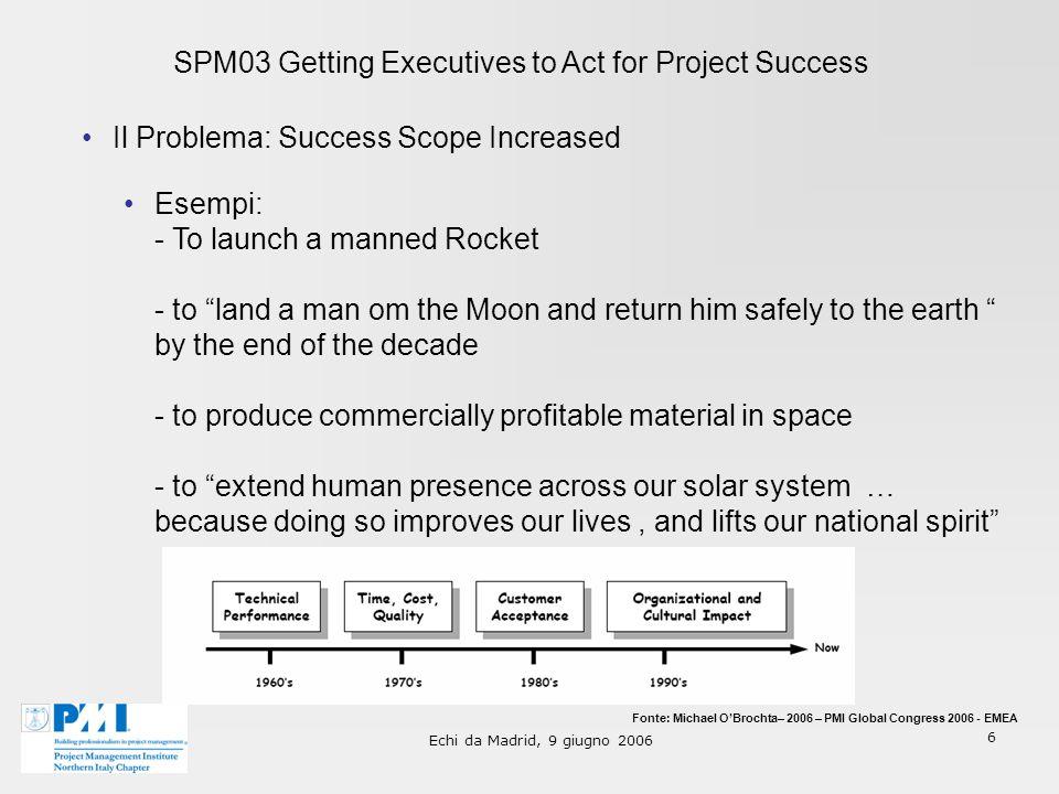 Echi da Madrid, 9 giugno 2006 7 SPM03 Getting Executives to Act for Project Success Il PM ha bisogno dellaiuto dellExecutive, infatti...