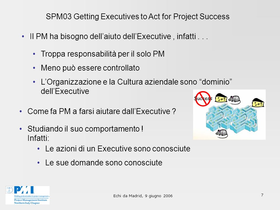 Echi da Madrid, 9 giugno 2006 7 SPM03 Getting Executives to Act for Project Success Il PM ha bisogno dellaiuto dellExecutive, infatti...