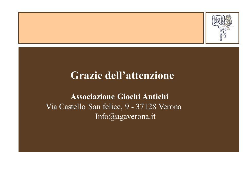 Grazie dellattenzione Associazione Giochi Antichi Via Castello San felice, 9 - 37128 Verona Info@agaverona.it