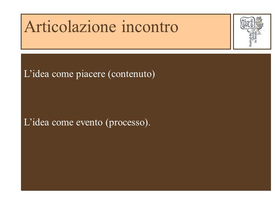 Articolazione incontro Lidea come piacere (contenuto) Lidea come evento (processo).