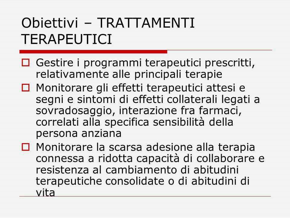 Obiettivi – TRATTAMENTI TERAPEUTICI Gestire i programmi terapeutici prescritti, relativamente alle principali terapie Monitorare gli effetti terapeuti
