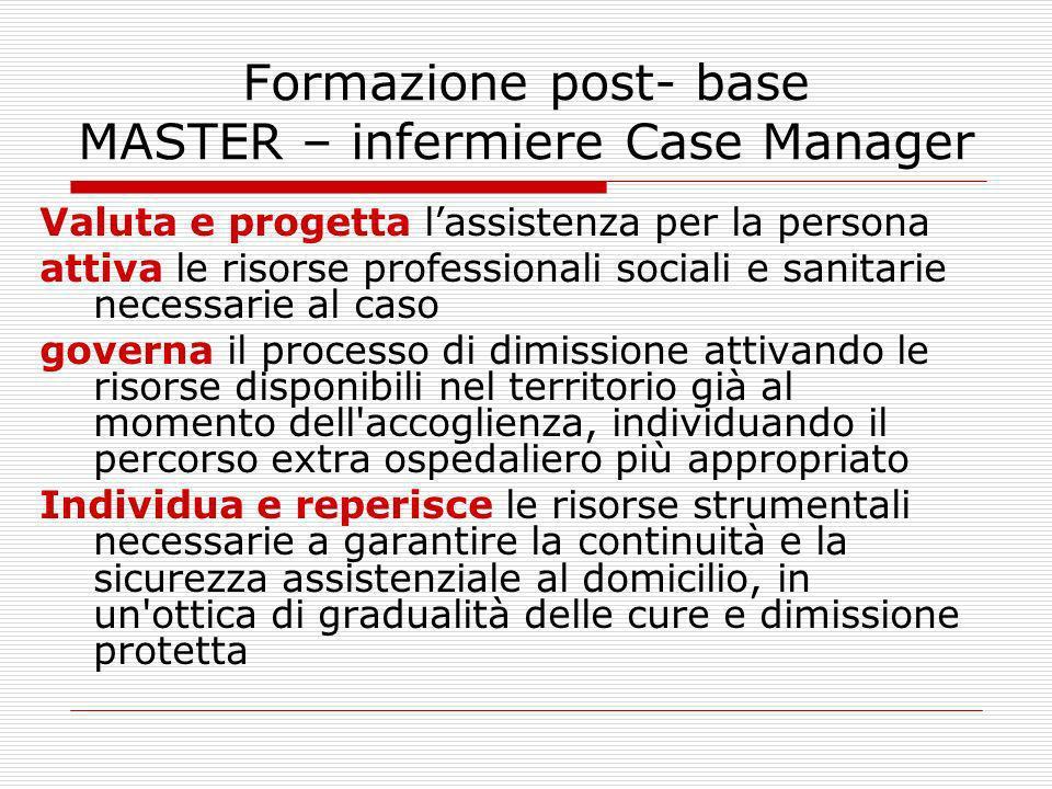Formazione post- base MASTER – infermiere Case Manager Valuta e progetta lassistenza per la persona attiva le risorse professionali sociali e sanitari