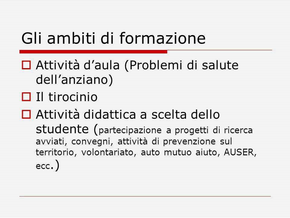 Gli ambiti di formazione Attività daula (Problemi di salute dellanziano) Il tirocinio Attività didattica a scelta dello studente ( partecipazione a pr