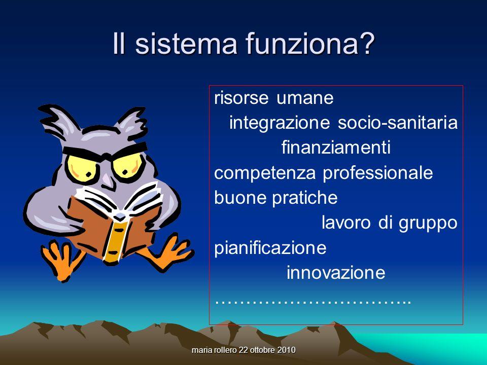 maria rollero 22 ottobre 2010 Il sistema funziona? risorse umane integrazione socio-sanitaria finanziamenti competenza professionale buone pratiche la