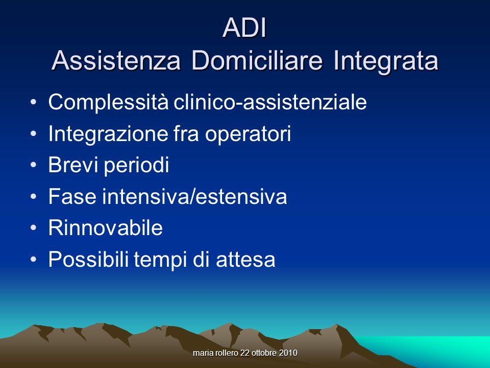 maria rollero 22 ottobre 2010 ADI Assistenza Domiciliare Integrata Complessità clinico-assistenziale Integrazione fra operatori Brevi periodi Fase int