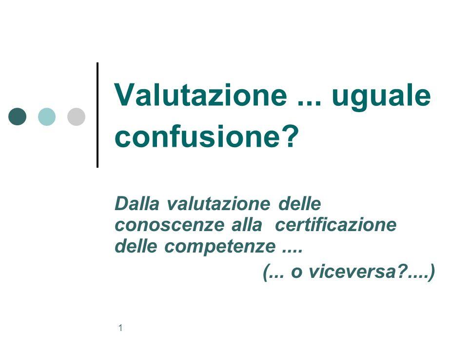 1 Valutazione... uguale confusione? Dalla valutazione delle conoscenze alla certificazione delle competenze.... (... o viceversa?....)