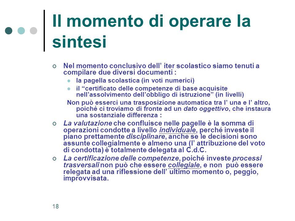 18 Il momento di operare la sintesi Nel momento conclusivo dell iter scolastico siamo tenuti a compilare due diversi documenti : la pagella scolastica