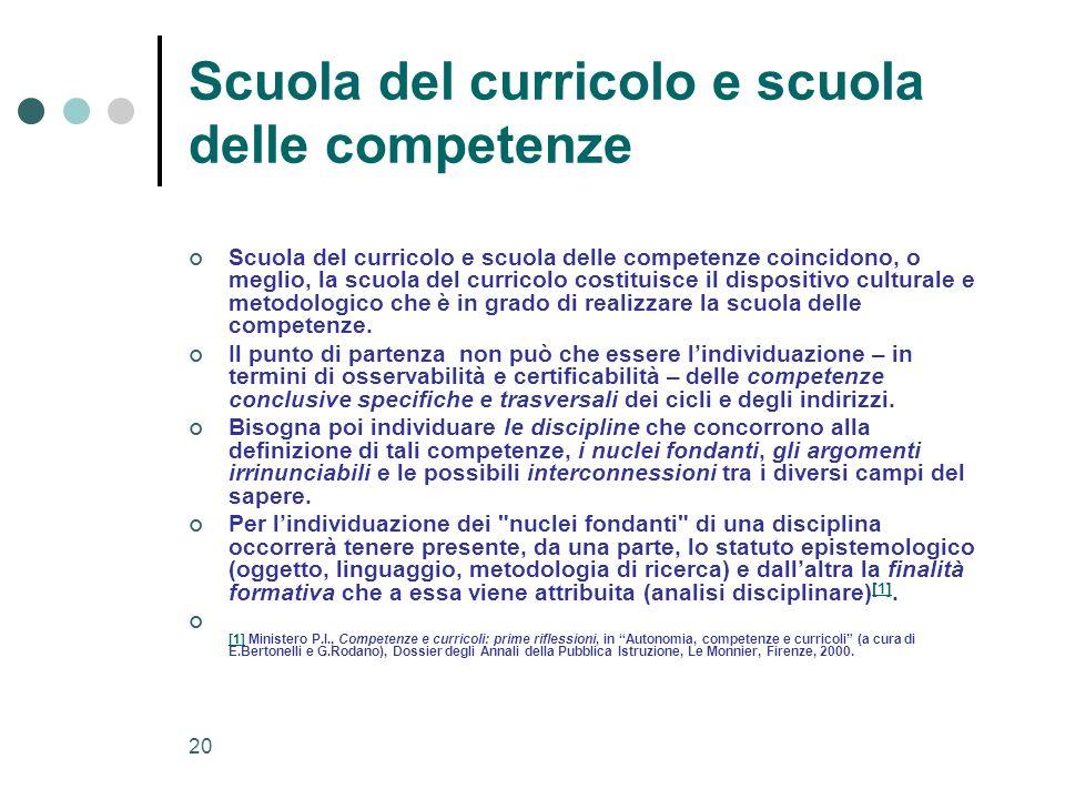 20 Scuola del curricolo e scuola delle competenze Scuola del curricolo e scuola delle competenze coincidono, o meglio, la scuola del curricolo costitu