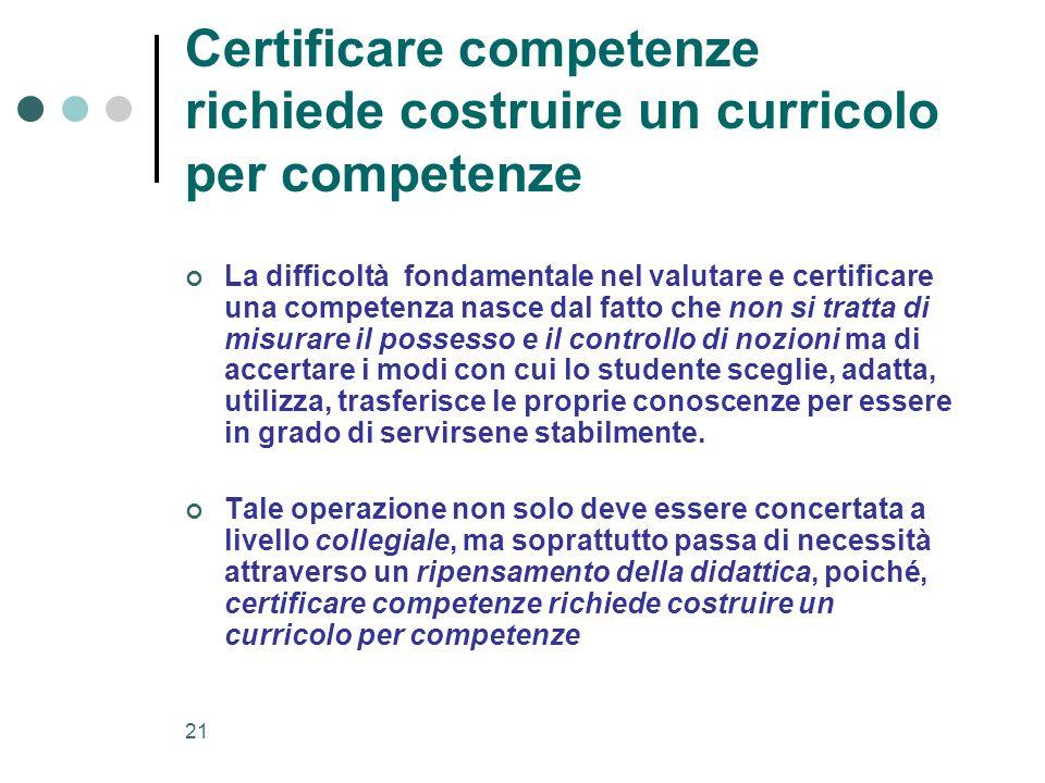 21 Certificare competenze richiede costruire un curricolo per competenze La difficoltà fondamentale nel valutare e certificare una competenza nasce da