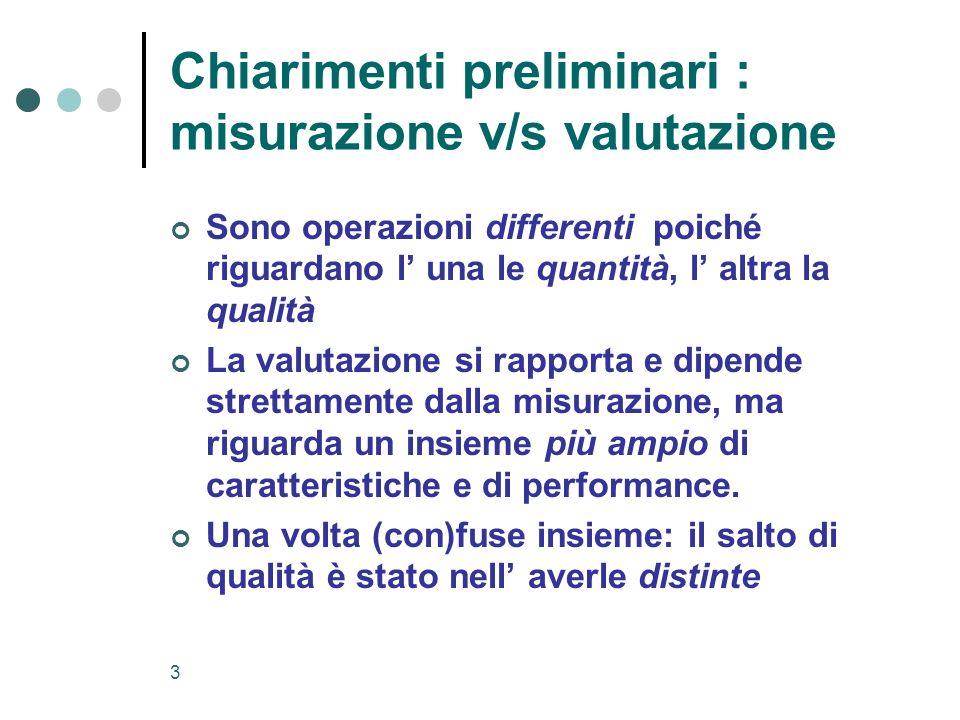 3 Chiarimenti preliminari : misurazione v/s valutazione Sono operazioni differenti poiché riguardano l una le quantità, l altra la qualità La valutazi