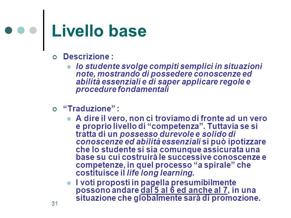 31 Livello base Descrizione : lo studente svolge compiti semplici in situazioni note, mostrando di possedere conoscenze ed abilità essenziali e di sap