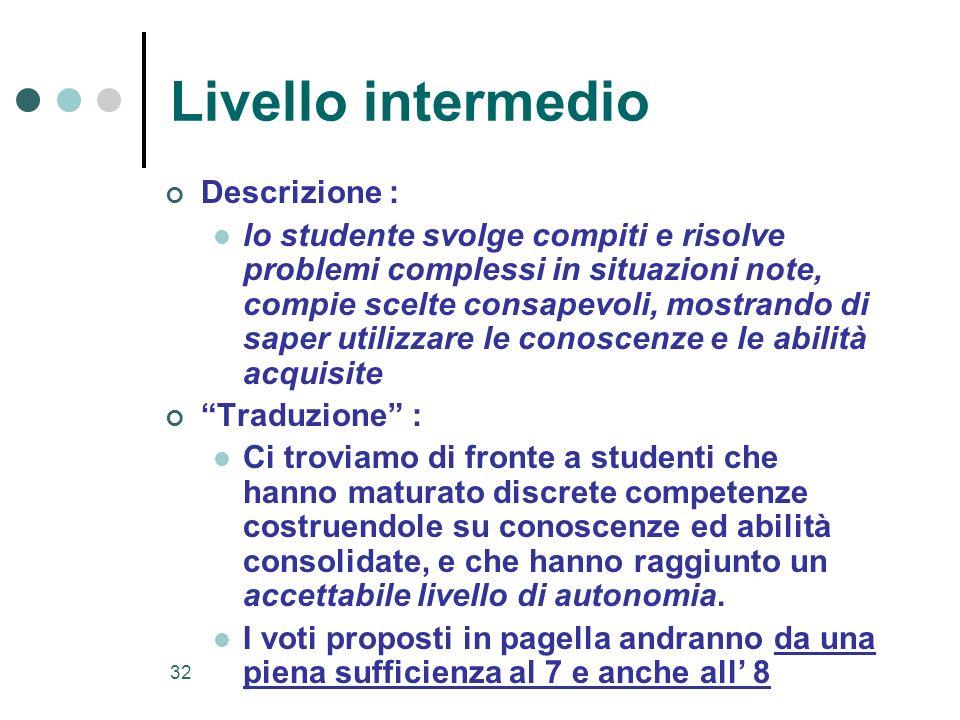 32 Livello intermedio Descrizione : lo studente svolge compiti e risolve problemi complessi in situazioni note, compie scelte consapevoli, mostrando d