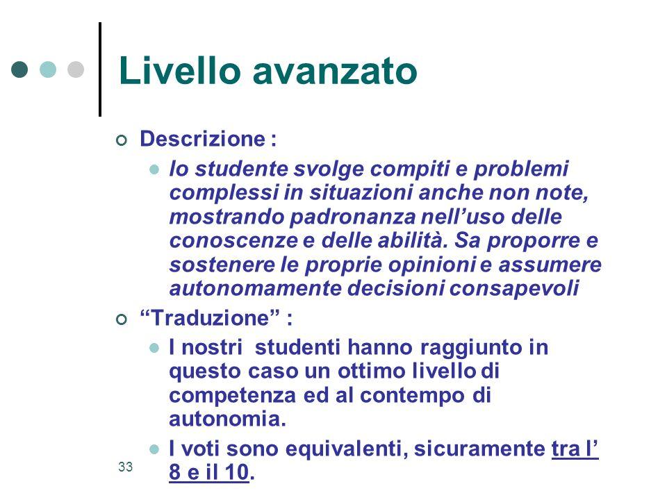 33 Livello avanzato Descrizione : lo studente svolge compiti e problemi complessi in situazioni anche non note, mostrando padronanza nelluso delle con