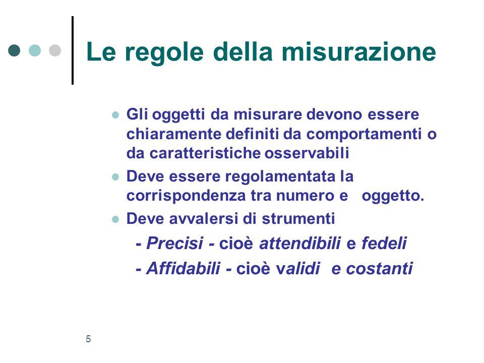 5 Le regole della misurazione Gli oggetti da misurare devono essere chiaramente definiti da comportamenti o da caratteristiche osservabili Deve essere