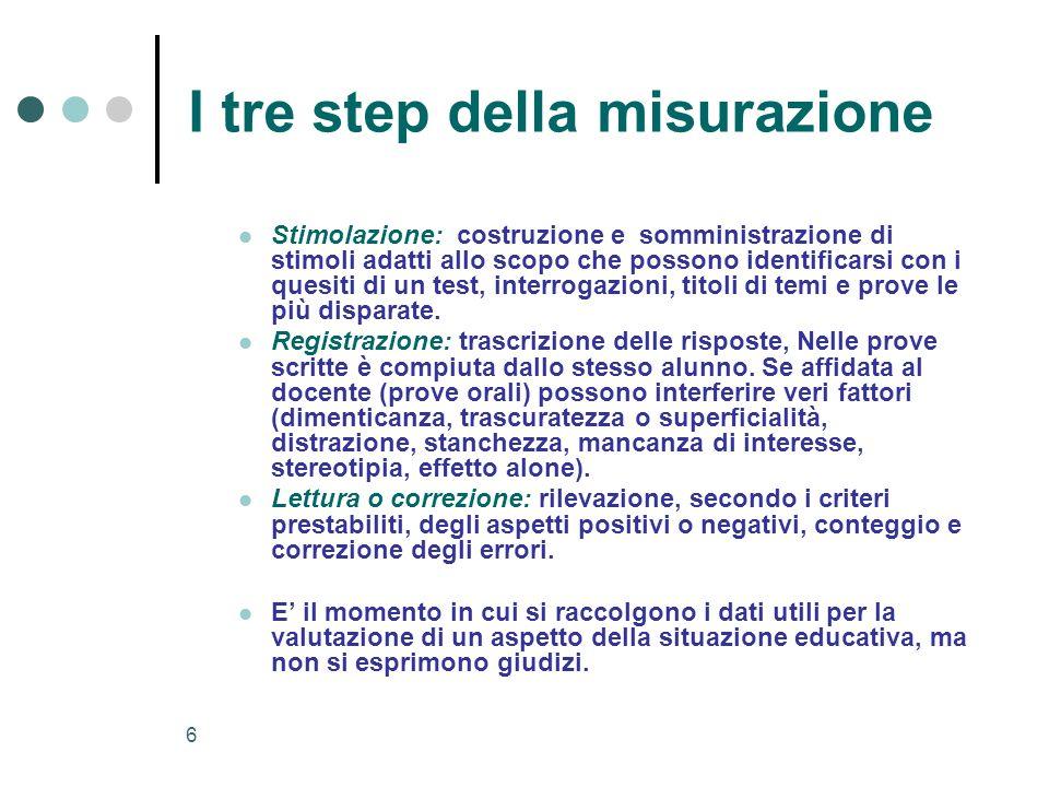 6 I tre step della misurazione Stimolazione: costruzione e somministrazione di stimoli adatti allo scopo che possono identificarsi con i quesiti di un