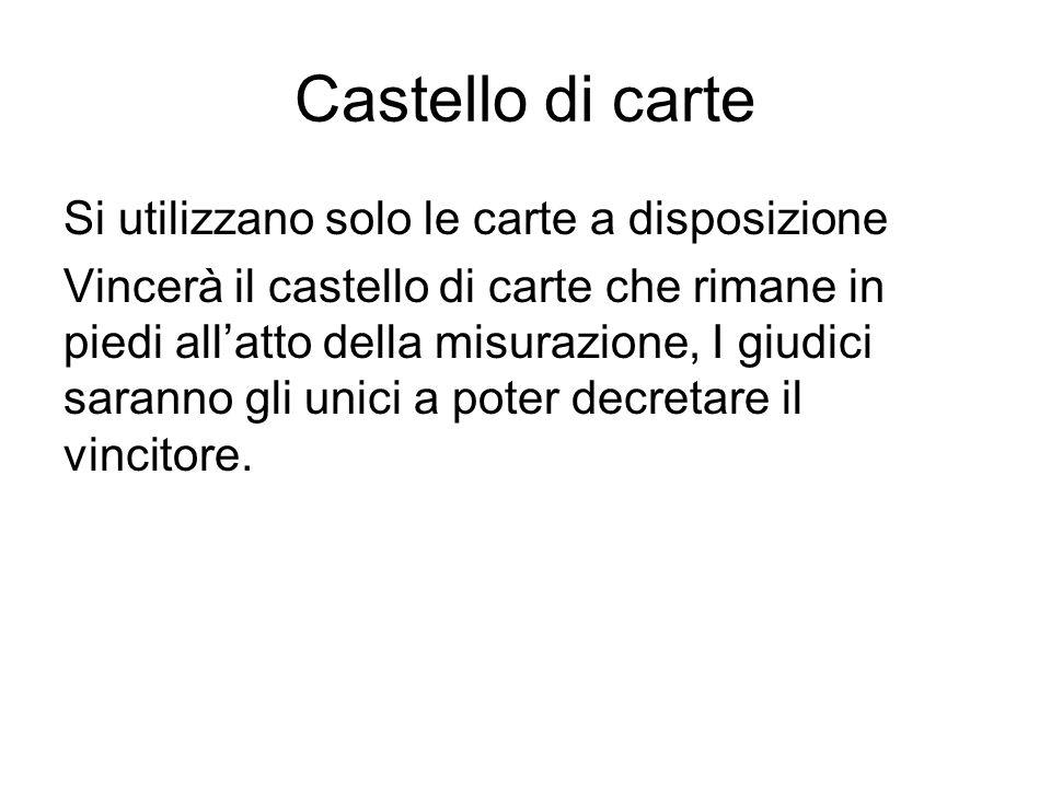 Castello di carte Si utilizzano solo le carte a disposizione Vincerà il castello di carte che rimane in piedi allatto della misurazione, I giudici sar