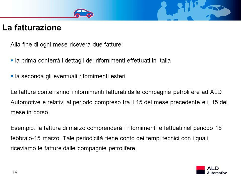 14 Alla fine di ogni mese riceverà due fatture: la prima conterrà i dettagli dei rifornimenti effettuati in Italia la seconda gli eventuali rifornimen