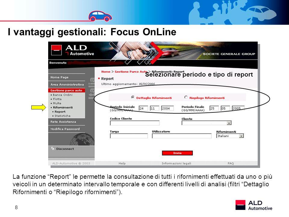 8 La funzione Report le permette la consultazione di tutti i rifornimenti effettuati da uno o più veicoli in un determinato intervallo temporale e con