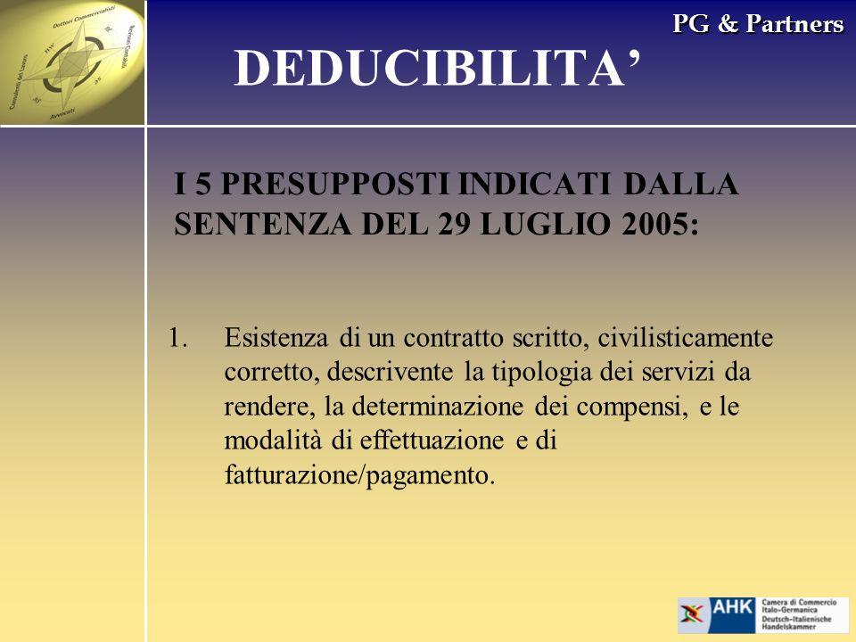 PG & Partners I 5 PRESUPPOSTI INDICATI DALLA SENTENZA DEL 29 LUGLIO 2005: 1.Esistenza di un contratto scritto, civilisticamente corretto, descrivente
