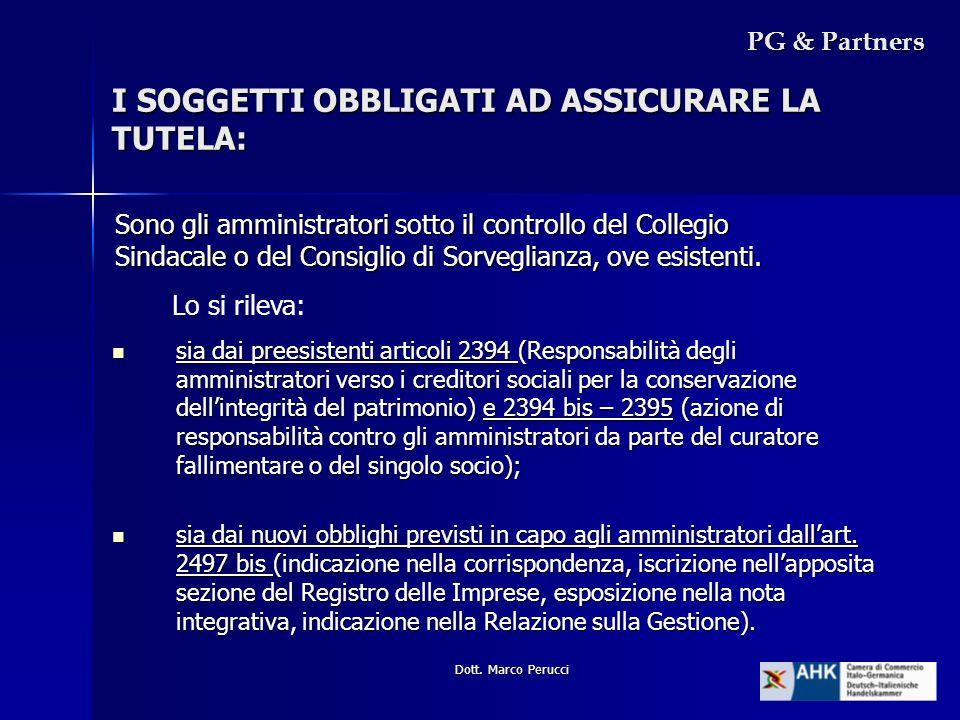 Dott. Marco Perucci I SOGGETTI OBBLIGATI AD ASSICURARE LA TUTELA: Sono gli amministratori sotto il controllo del Collegio Sindacale o del Consiglio di