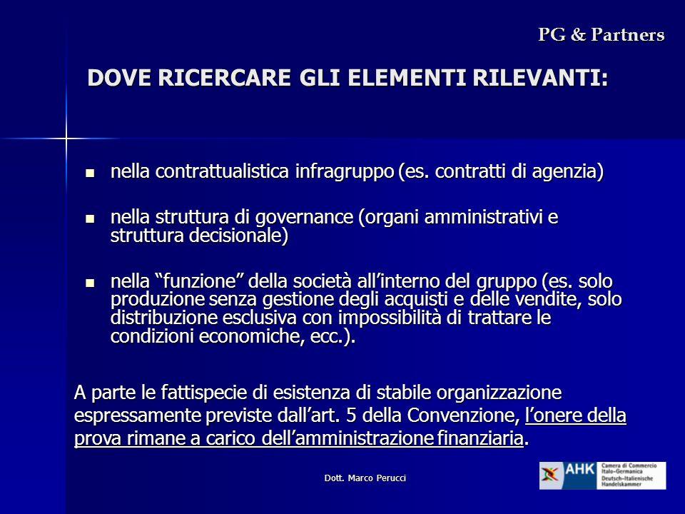 Dott. Marco Perucci DOVE RICERCARE GLI ELEMENTI RILEVANTI: PG & Partners A parte le fattispecie di esistenza di stabile organizzazione espressamente p