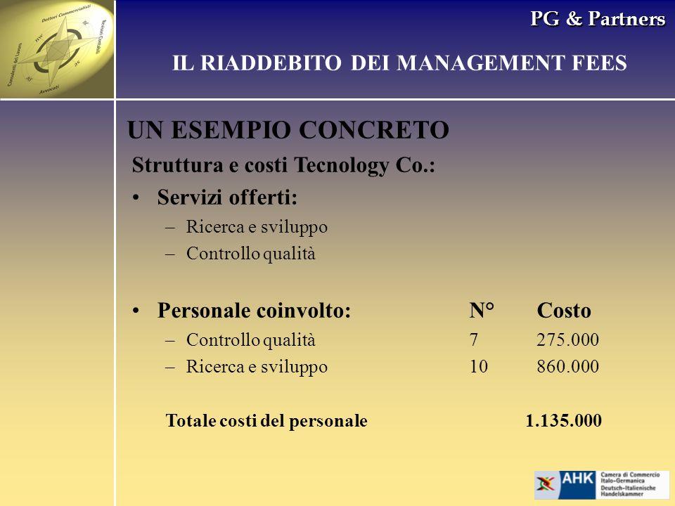 PG & Partners UN ESEMPIO CONCRETO Struttura e costi Tecnology Co.: Servizi offerti: –Ricerca e sviluppo –Controllo qualità Personale coinvolto:N°Costo