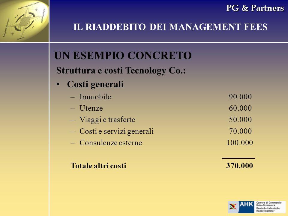 PG & Partners UN ESEMPIO CONCRETO Struttura e costi Tecnology Co.: Costi generali –Immobile90.000 –Utenze60.000 –Viaggi e trasferte50.000 –Costi e ser