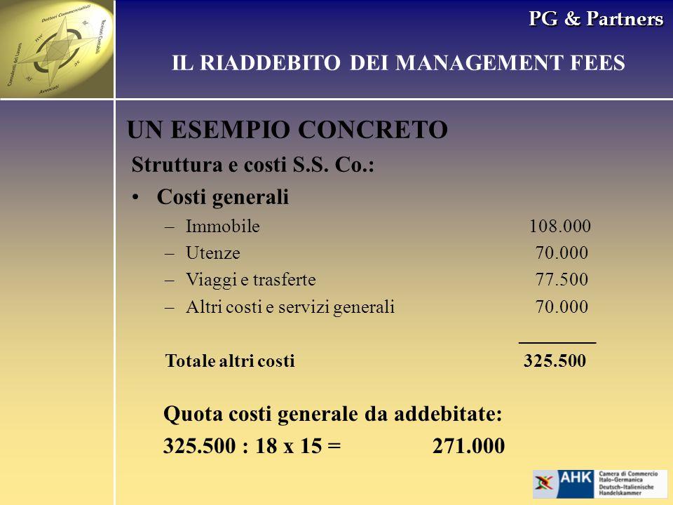 PG & Partners UN ESEMPIO CONCRETO Struttura e costi S.S. Co.: Costi generali –Immobile 108.000 –Utenze70.000 –Viaggi e trasferte77.500 –Altri costi e