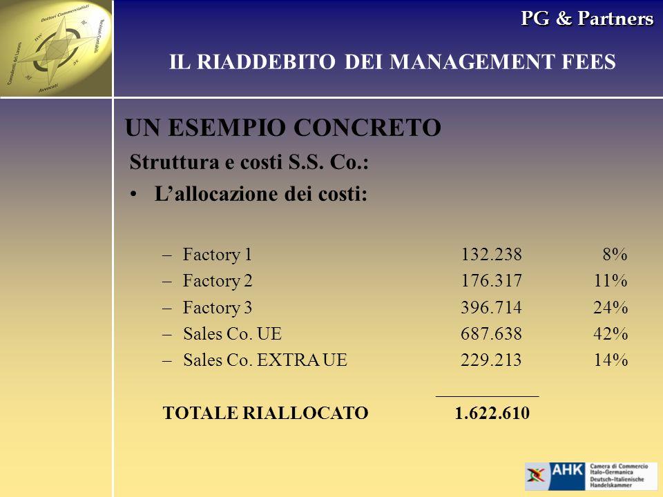 PG & Partners UN ESEMPIO CONCRETO Struttura e costi S.S. Co.: Lallocazione dei costi: –Factory 1132.238 8% –Factory 2176.31711% –Factory 3396.71424% –
