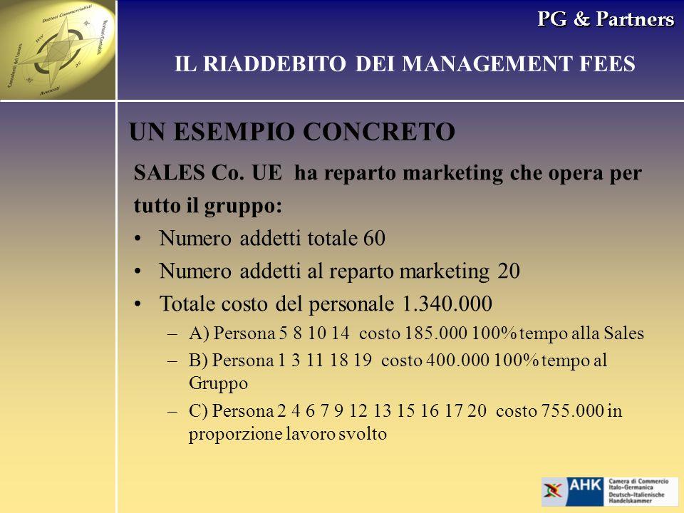 PG & Partners UN ESEMPIO CONCRETO SALES Co. UE ha reparto marketing che opera per tutto il gruppo: Numero addetti totale 60 Numero addetti al reparto