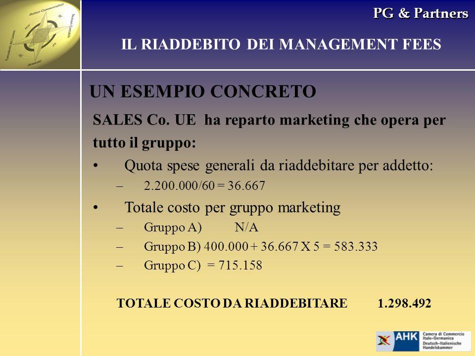 PG & Partners UN ESEMPIO CONCRETO SALES Co. UE ha reparto marketing che opera per tutto il gruppo: Quota spese generali da riaddebitare per addetto: –