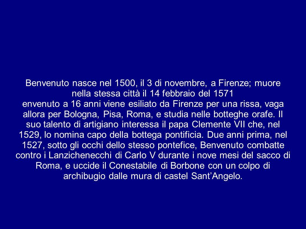 Benvenuto nasce nel 1500, il 3 di novembre, a Firenze; muore nella stessa città il 14 febbraio del 1571 envenuto a 16 anni viene esiliato da Firenze per una rissa, vaga allora per Bologna, Pisa, Roma, e studia nelle botteghe orafe.