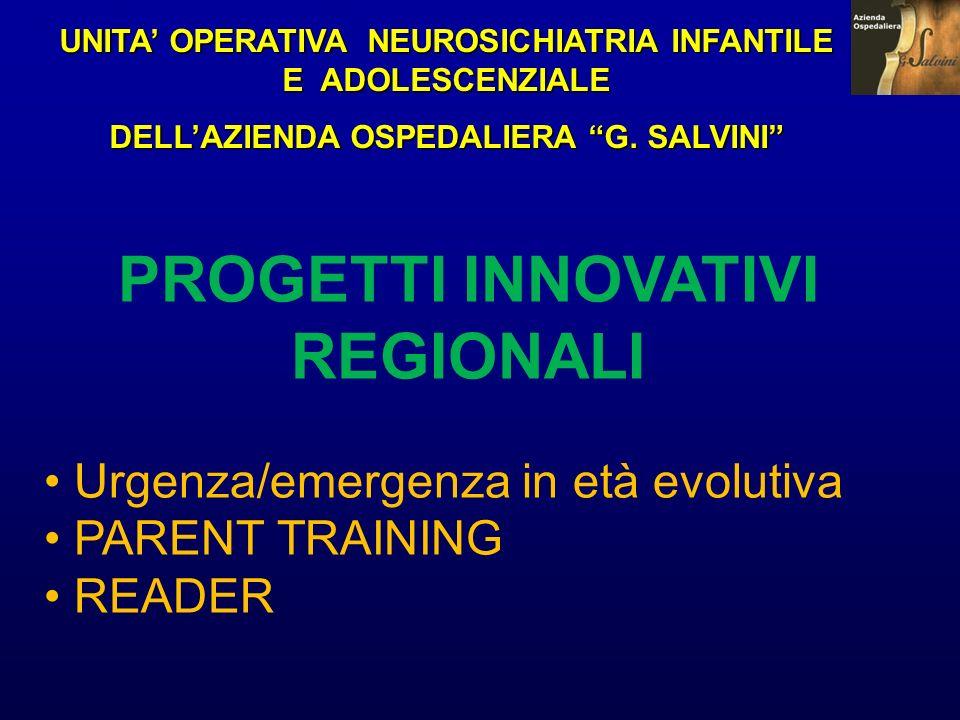UNITA OPERATIVA NEUROSICHIATRIA INFANTILE E ADOLESCENZIALE DELLAZIENDA OSPEDALIERA G. SALVINI PROGETTI INNOVATIVI REGIONALI Urgenza/emergenza in età e